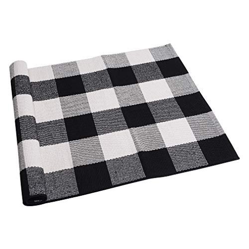 SEEKSEE 100% Cotton Plaid Rugs Black/White Checkered Plaid Rug Hand-Woven Buffalo Checkered Doormat Washable Porch Kitchen Area Rugs 23.5″×35.4″