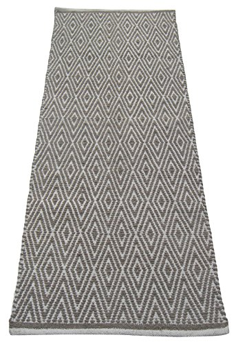 Chardin home 100% Cotton Diamond Runner Rug Fully Reversible, Size -2'x5′, Machine Washable, Grey/White.