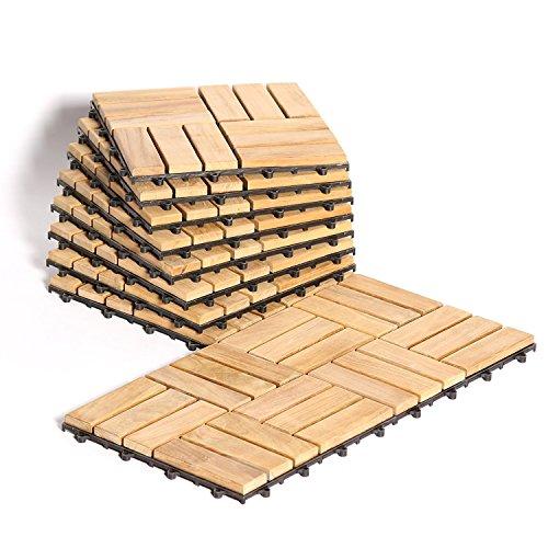 Teak Interlocking Flooring Tiles – Natural Finish 10 Square Feet – Le Click – Windmill Pattern