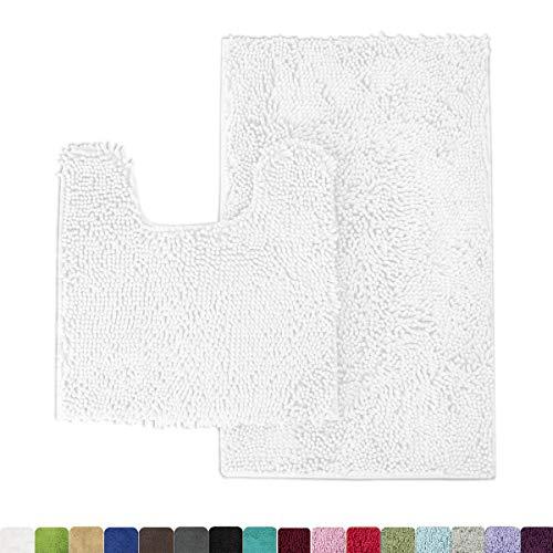 MAYSHINE Bathroom Rugs Toilet Sets and Shaggy Non Slip Machine Washable Soft Microfiber Bath Contour mat White 32″ 20″/20″ 20″ U-Shaped