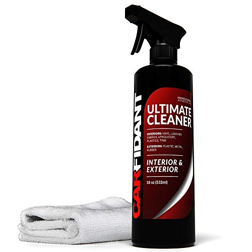 Automotive Interior & Exterior Cleaner All Purpose Cleaner for Car Carpet Upholstery Leather Vinyl Cloth Plastic Seats Trim Engine Mats – Carfidant Ultimate Car Interior Cleaner – Car Cleaning Kit