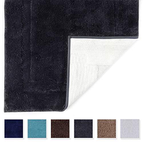 Tomoro Non-Slip Bathroom Rug Super Absorbent Bath Mat Extra Soft Microfibers Anti-Skid TPR Bottom 17.5 x 27 inch, Grey