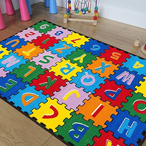 iSavings Kids/Baby Room/Daycare/Classroom/Playroom Area Rug. ABC PUZZLE A-Z AND 1-9. Educational. Fun. Bright Colorful Vibrant Colors 5 Feet X 7 Feet