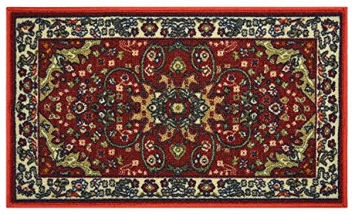 RugStylesOnline Traditional Persian Isfahan Mahal Design Mat Dark Red Color Printed Slip Skid Resistant Rubber Back Dark Red, 18″x30″ Mat'