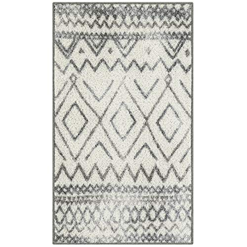 Abstract Diamond 1'8 x 2'10 Distressed Style Non Skid Washable Throw Rugs Made in USA for Entryway and Bedroom, Neutral – Maples Rugs Kitchen Rugs