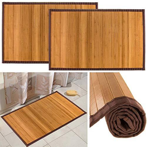 Bamboo 2 Pack Non Skid Water Resistant Bath Floor Mats Non Slip Shower Bathroom Rugs, 21″ x 34″
