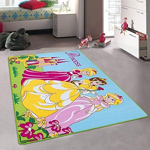 Princess and Castle Playtime Disney Style Fun Educational Area Rug Girls Bedroom Carpet Non-Slip Gel Back Play Mat 8 Feet X 10 Feet