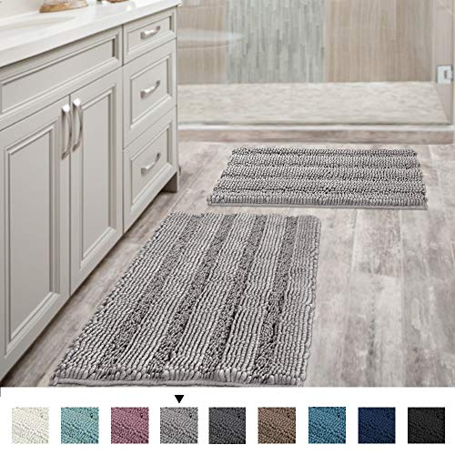 Non Slip Thick Shaggy Chenille Bathroom Rugs Soft Bath Mats for Bathroom Extra Absorbent Floor Mats Bath Rugs Set for Kitchen/Living Room Set of 2, 20″ x 32″/17″ x 24″, Dove