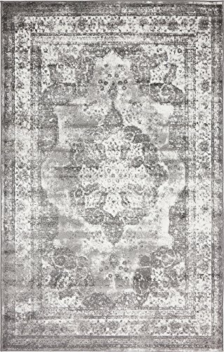 Unique Loom 3134088 Sofia Collection Traditional Vintage Beige Area Rug, 4′ x 6′ Rectangle, Gray