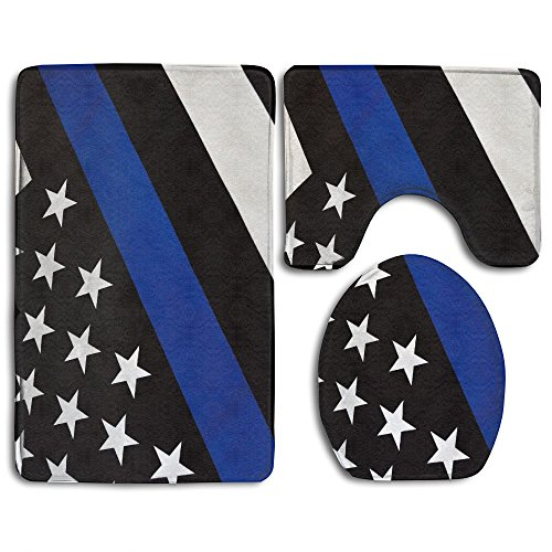 Toilet Rug Sets Thin Blue Line Flag 3 Piece Non-Slip Bathroom Rugs Set Living Room Anti-skid Pads Bath Mat + Contour + Toilet Seat Cover