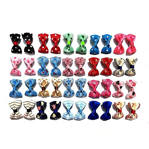 Aoyoho Pack of 40pcs/20pairs Baby Pet Dog Hair Clips Cat Puppy Bows Small Bowknot Pet Grooming Products Mix Colors Varies Patterns Pet Hair Bows Dog Accessories