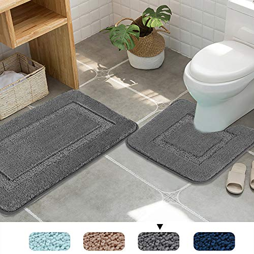 Upgraded Non-Slip Push Microfiber Bath Rugs Floor Mat Ultra Soft Washable Bathroom Dry Fast Water Absorbent Rugs Non Skid, 2 Pack, 20″ x 32″/20″ x 18″, Gray