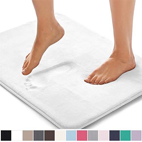 Gorilla Grip Original Thick Memory Foam Bath Rug, 24×17, Cushioned, Soft Floor Mats, Absorbent Children's Bathroom Mat Rugs, Machine Washable, Luxury Plush Comfortable Carpet for Bath Room, White