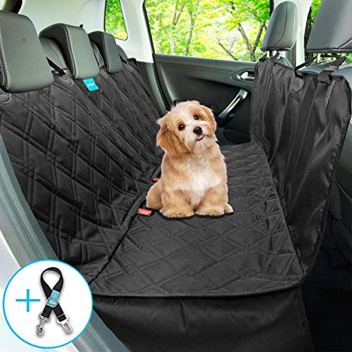 Dog Seat Cover for Back Seat 100% Waterproof Dog Car Seat Covers Dog Hammock for Cars Trucks Suvs Washable Luxury Heavy Duty Durable Side Flaps Universal Size Pet Seat Belt Leash Included