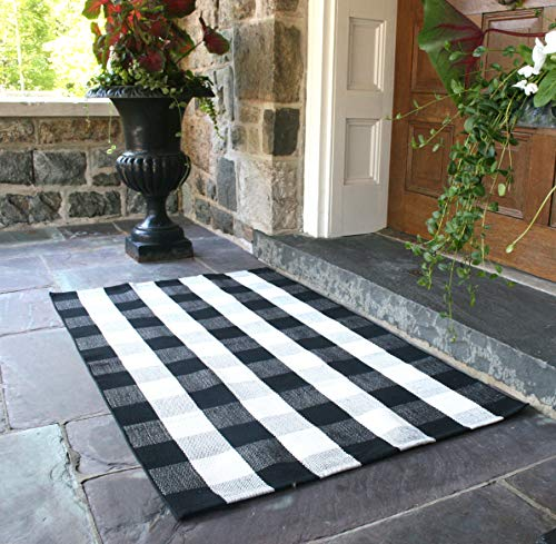 NANTA Black and White Rug Buffalo Plaid Check Checkered Rug Cotton Hand-Woven Rugs for Welcome Door Mat Porch/Kitchen/Bathroom/Entry Way 3×5