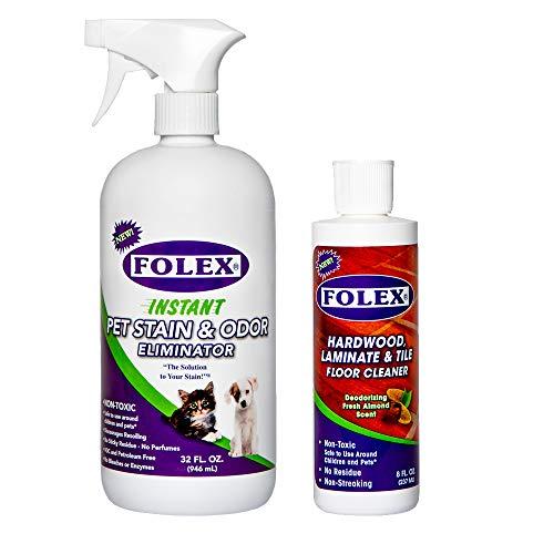 Folex Pet Stain & Odor Eliminator 32oz bundle with Deodorizing Wood Floor Cleaner 8oz
