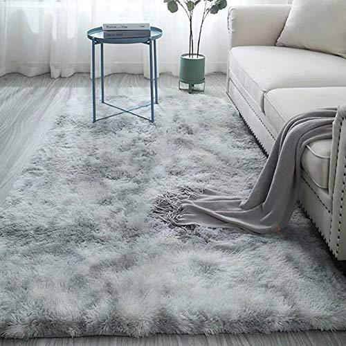 Soft Plush High Pile Rugs Simple Style Modern Shaggy Motley Tie-dye Carpet Bedroom Mat Light Grey 4 x 5.3ft