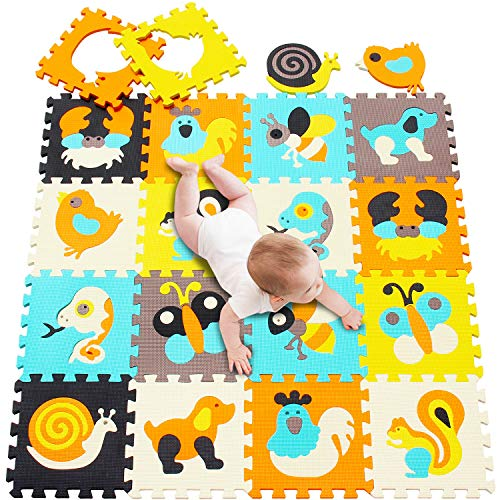 meiqicool Baby Play Mat|Foam Puzzle Floor Playmat for Infants,Children Kids|Tummy Time Crawling Sit Interlocking Square Non Toxic 18 Piece Mat P010010