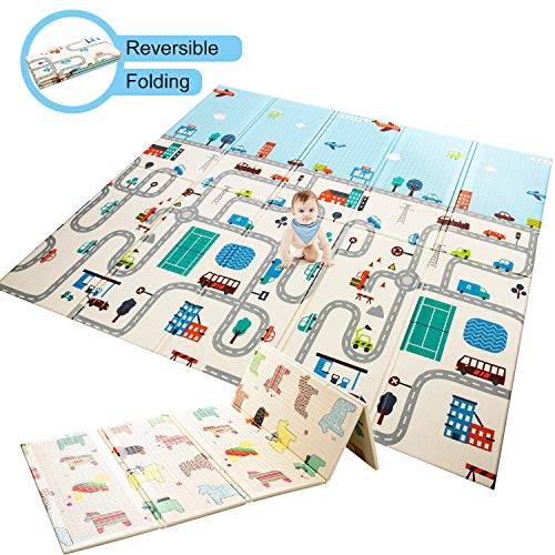 Baby Play Mat Foldable Baby Playmat Extra Large Foam Mat Reversible Baby Crawling Mat, Non Toxic Waterproof for Kids Toddler Infants Maze + Little Horse