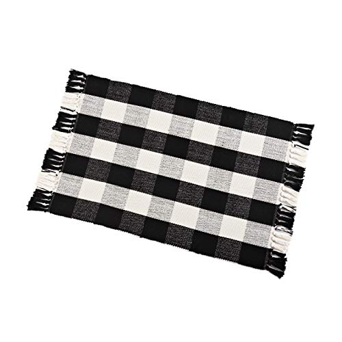 Buffalo Check Rug Washable Checkered Cotton Mat Woven Black and White Plaid Striped Area Rug Tassel for Exterior Outdoor Kitchen Living Room Bathroom Decor,23.6″x35.4″