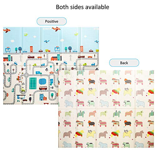 Baby Play Mat Foldable Baby Playmat Extra Large Foam Mat Reversible Baby Crawling Mat, Non Toxic Waterproof for Kids Toddler Infants Maze+Little Horse