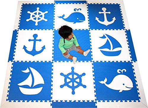 Large 2′ Floor Tiles for Playrooms and Baby Nursery- Large 6.5 x 6.5 ft. – SoftTiles Kids Interlocking Foam Playmat with Sloped Edge Pieces- Nautical Ocean Theme – Blue and White SCNAUBW