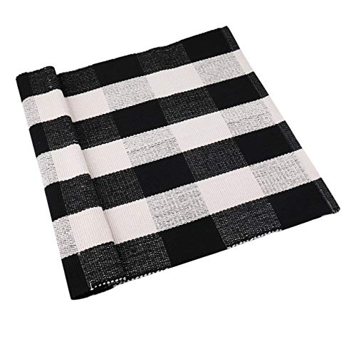 Fasmov Black and White Plaid Rug 100% Cotton Porch Rugs Hand-Woven Buffalo Checkered Doormat 23″ x 35.5″