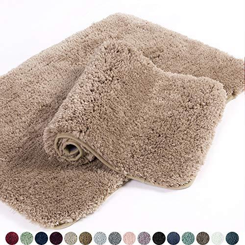 Walensee Bathroom Rug Non Slip Bath Mat for Bathroom 16 x 24, Sand Water Absorbent Soft Microfiber Shaggy Bathroom Mat Machine Washable Bath Rug for Bathroom Thick Plush Rugs for Shower