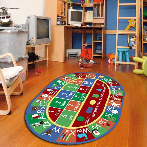Furnish my Place 755 Shape 3×5 Kids ABC Alphabet Numbers Educational NonSkid Oval, 3'3″x5′, Multicolor
