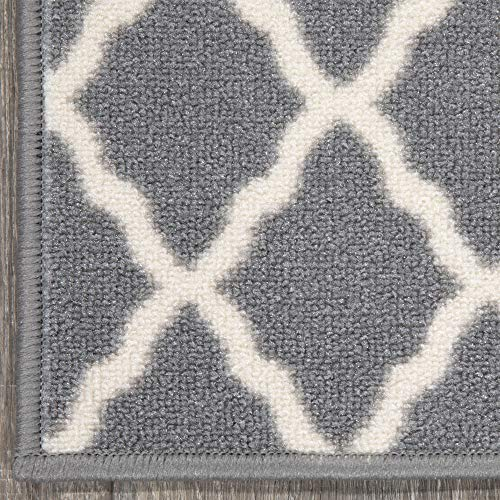 Ottomanson Glamour Collection Trellis Design Stair Tread, 8.5″ X 26″ Pack of 14, Gray, 14