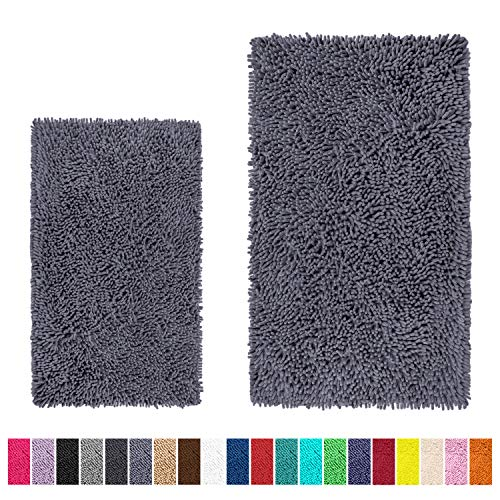 "LuxUrux Bathroom Rug Set-Extra-Soft Plush Bath mats Shower Bathroom Rugs,1"" Chenille Microfiber Material, Super Absorbent. Rectangular Set, Dark Gray"