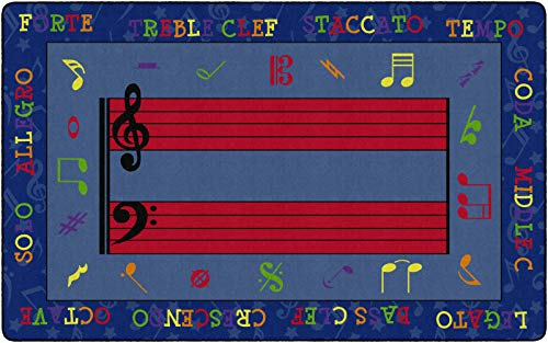 Flagship Carpets FE121-44A Fun with Music Children's Classroom Rug, 7'6″x12′, Rectangle