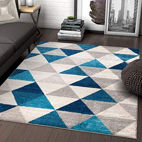 Well Woven Isometry Blue & Grey Modern Geometric Triangle Pattern 5′ x 7′ Area Rug Soft Shed Free Easy to Clean Stain Resistant