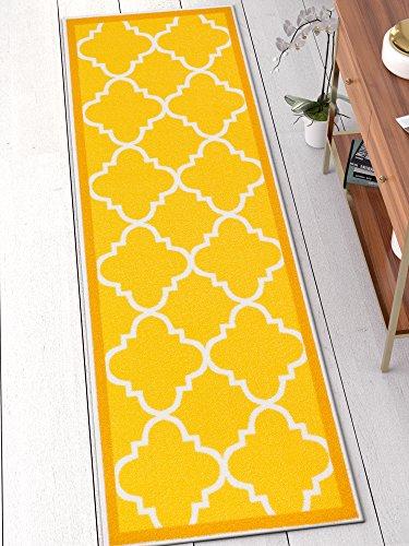 Well Woven 65112 Kings Court Brooklyn Trellis Modern Gold Geometric Lattice 2′ x 7′ Runner Indoor/Outdoor Area Rug