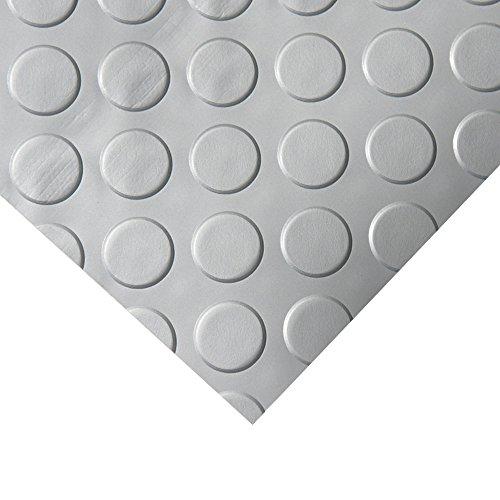 Rubber-Cal Coin Grip Metallic PVC Flooring, Silver, 2.5mm x 4′ x 25′