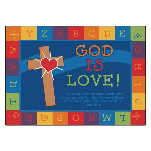 Carpets for Kids 83013 God is Love Learning Kid$ Value Plus Rug – Rectangle 4′ x 6′
