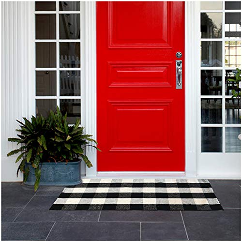 """Buffalo Plaid Rug 24""""x51.2"""", Black and White Outdoor Rug Includes 4PCS Rug Grippers. Buffalo Check Rug as Front Door mat or Indoors – Buffalo Check Outdoor Rug Mat"""