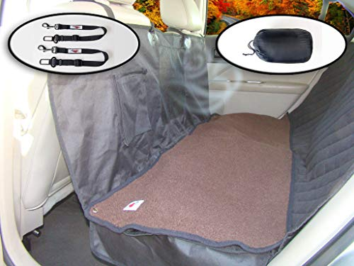 Ultimate Pet Seat Cover and Dog Hammock Features Dark Brown Washable Fleece Mat, Mesh Window and Metal Buckles – 5-Piece Set