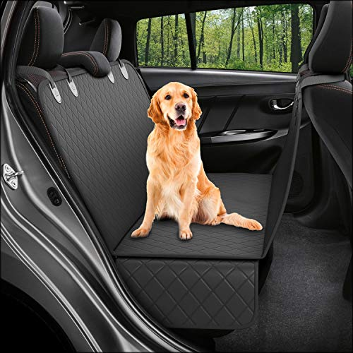 Dog Back Seat Cover Protector Waterproof Scratchproof Nonslip Hammock for Dogs Backseat Protection Against Dirt and Pet Fur Durable Pets Seat Covers for Cars Trucks SUVs Black
