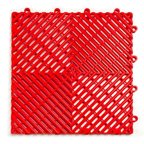 RaceDeck Free-Flow Open Rib Design, Durable Interlocking Modular Garage Flooring Tile 48 Pack, Red