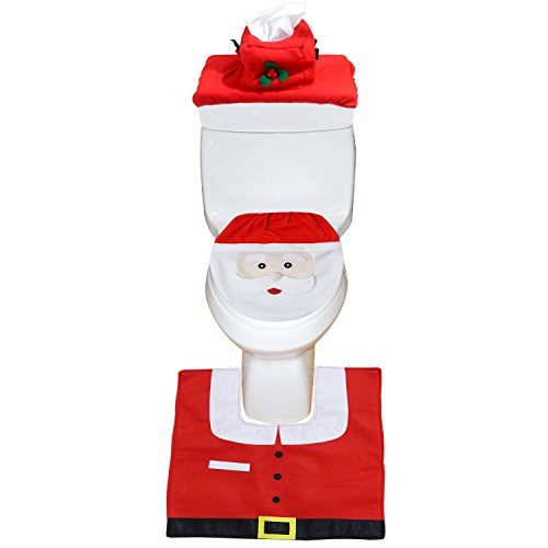 Christmas Bathroom Decorations – Happy Santa Toilet Seat Cover and Rug Set Red – Set of 3