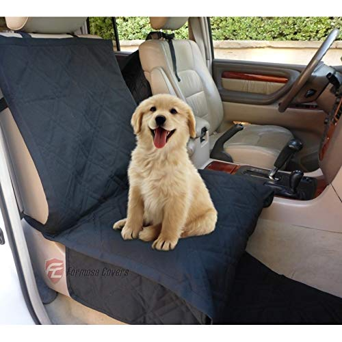 Deluxe Quilted and Padded Dog Car Single Seat Cover with Comforting Fabric and Non-Slip Backing Best for Cars Trucks and SUVs -Travel With Your Pet Mess Free – Universal Fit 21″W x 72″L, BLACK
