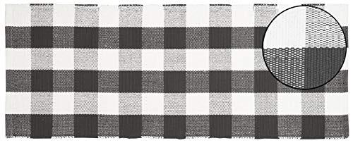 Buffalo Checkered Throw Rug 100% Cotton for Kitchen Entryway Living Room – Buffalo Check Cotton Runner 24×60 – Charcoal-White