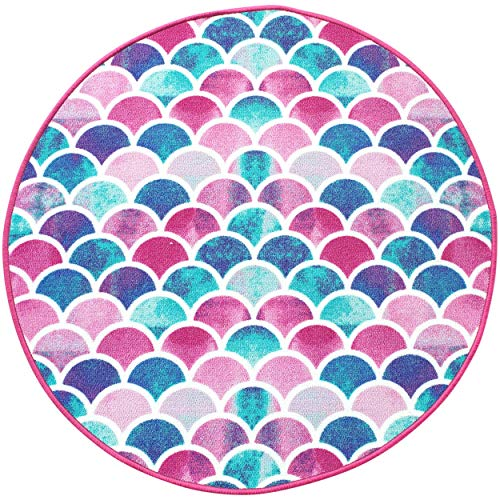 Mermaid Rug Girls Decor for Mermaid Bedroom, Girls Bathroom Rugs, Toddler Girl Playroom Carpet Play Mat- Round Kids Area Rug, Pink Purple Aqua Turquoise Mermaids Scales, Little Mermaid Tail Floor Mat