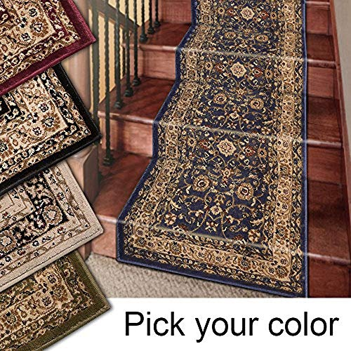 Marash Luxury Collection 25′ Stair Runner Rugs Stair Carpet Runner with 336,000 Points of Fabric Per Square Meter, Navy