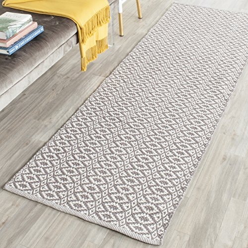 Safavieh Montauk Collection MTK716A Handmade Flatweave Ivory and Grey Cotton Area Rug 2'3″ x 5′