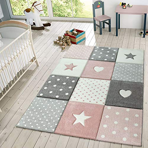 Children's Rug Pastel Colours Checked Dots Hearts Stars White Grey Pink, Size:160×230 cm