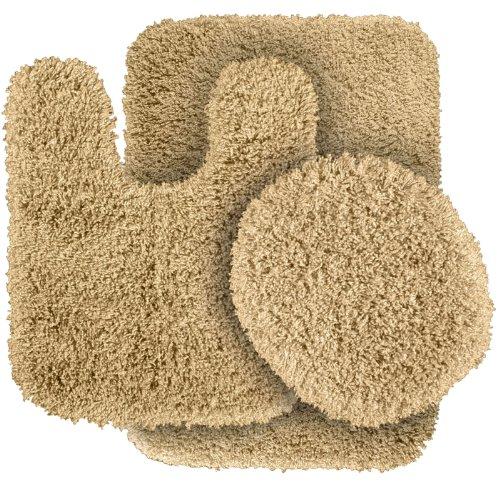 Garland Rug 3-Piece Serendipity Shaggy Washable Nylon Bathroom Rug Set, Linen