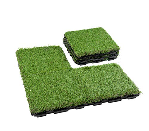 GOLDEN MOON Grass Tile Series PP Interlocking Grass Deck Tiles, Artificial Anti-wear Turf Tiles, New Lock 6 Pieces1.5″ Blade Height