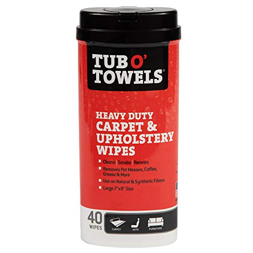Tub O' Towels Carpet and Upholstery Spot Remover Cleaning Wipes – Clean, Scrub, Remove, 40 Count Wipes